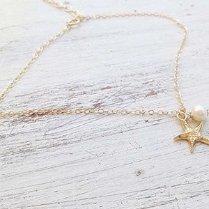 Jewelry - Nautical Starfish Ankle Bracelet with Pearl Accent